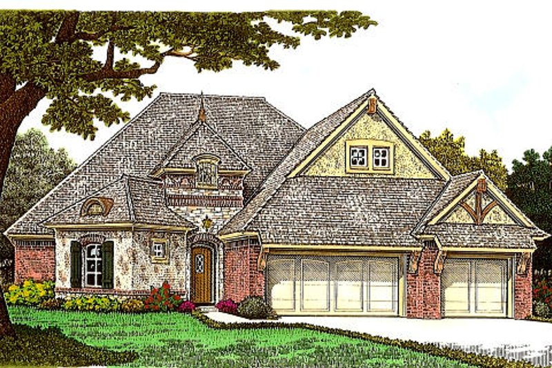 European Style House Plan - 3 Beds 2.5 Baths 2271 Sq/Ft Plan #310-984 Exterior - Front Elevation