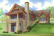 Craftsman Style House Plan - 2 Beds 3 Baths 1921 Sq/Ft Plan #923-23 Exterior - Rear Elevation