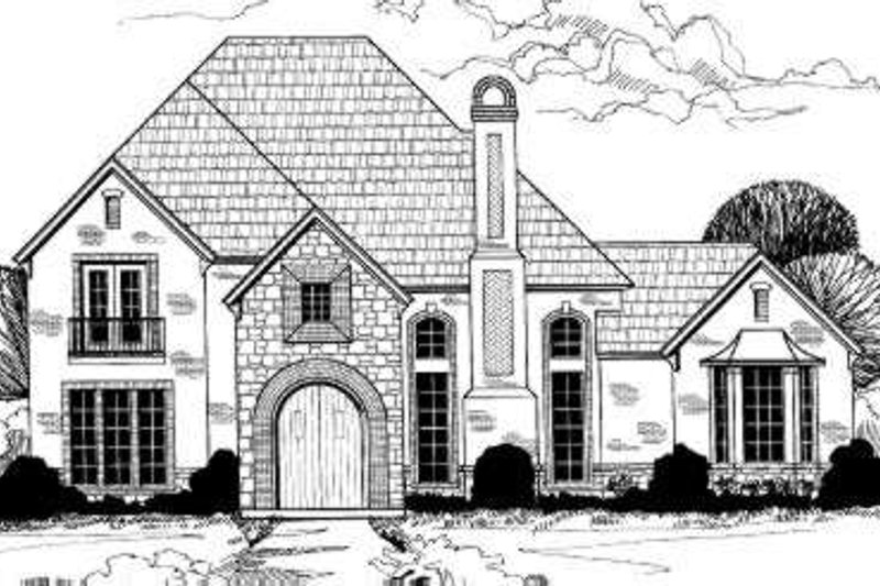 European Style House Plan - 5 Beds 4.5 Baths 4414 Sq/Ft Plan #317-136 Exterior - Front Elevation