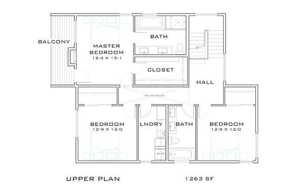 Contemporary Floor Plan - Upper Floor Plan Plan #909-9
