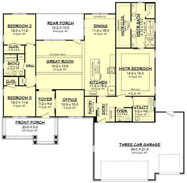 Dream House Plan - Ranch Floor Plan - Main Floor Plan #430-212