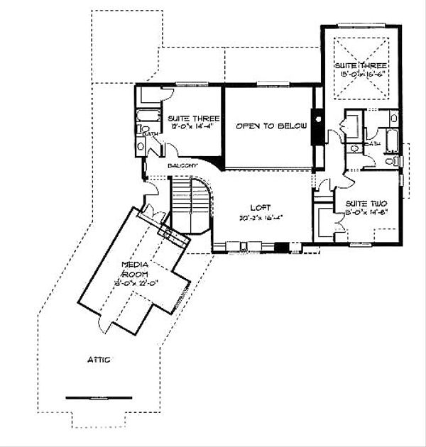 European Floor Plan - Upper Floor Plan Plan #413-110