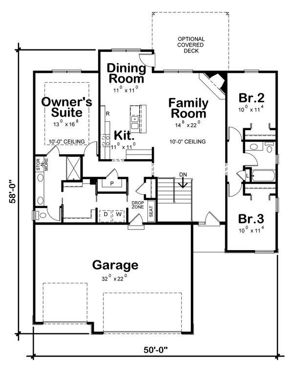 Architectural House Design - Ranch Floor Plan - Main Floor Plan #20-2322
