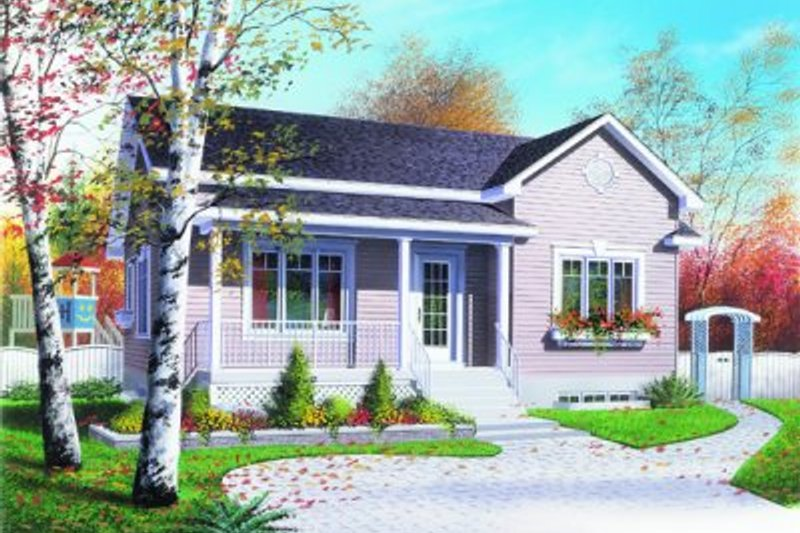 Cottage Style House Plan - 3 Beds 1 Baths 1090 Sq/Ft Plan #23-102 Exterior - Front Elevation