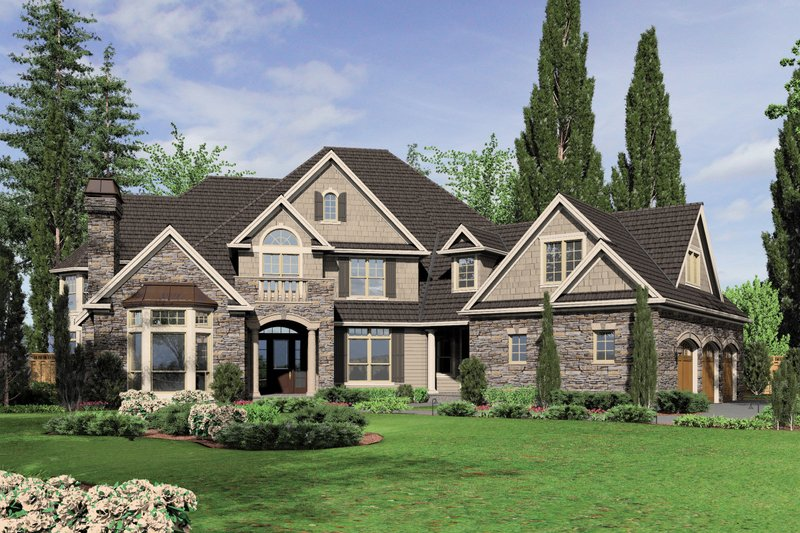 Dream House Plan - Front view - 6000 square foot European home