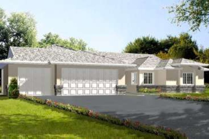 Adobe / Southwestern Style House Plan - 4 Beds 2.5 Baths 2471 Sq/Ft Plan #1-569 Exterior - Front Elevation