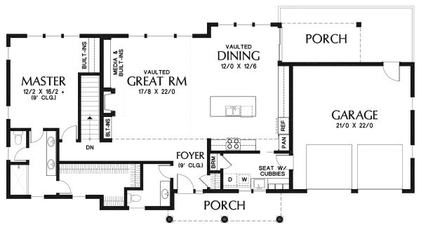 Craftsman Floor Plan - Main Floor Plan Plan #48-970