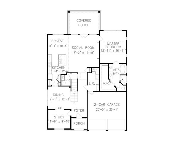 Tudor Floor Plan - Main Floor Plan Plan #54-399