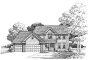 Traditional Style House Plan - 4 Beds 3 Baths 2499 Sq/Ft Plan #20-2055 Exterior - Front Elevation