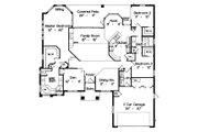 Mediterranean Style House Plan - 3 Beds 2 Baths 2118 Sq/Ft Plan #417-196 Floor Plan - Main Floor Plan