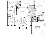 Mediterranean Style House Plan - 4 Beds 2 Baths 2041 Sq/Ft Plan #417-185 Floor Plan - Main Floor Plan
