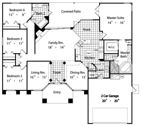 Mediterranean Floor Plan - Main Floor Plan Plan #417-185