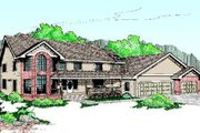 Traditional Style House Plan - 5 Beds 4 Baths 3545 Sq/Ft Plan #60-203 Exterior - Front Elevation