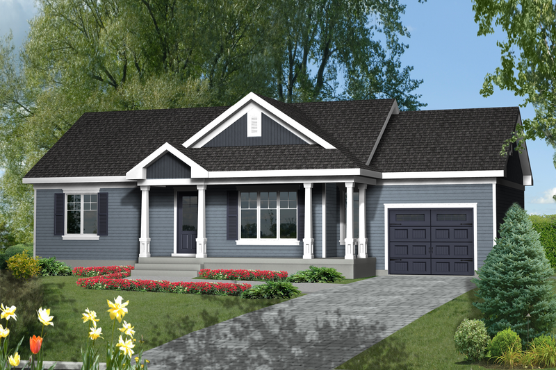 Country Style House Plan - 3 Beds 1 Baths 992 Sq/Ft Plan #25-4461 Exterior - Front Elevation