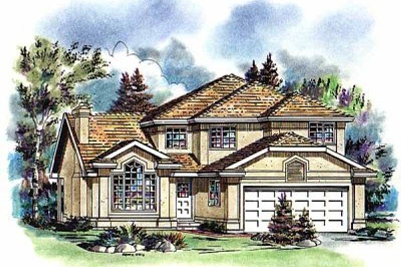 European Style House Plan - 3 Beds 2.5 Baths 1762 Sq/Ft Plan #18-255 Exterior - Front Elevation