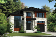 Contemporary Style House Plan - 4 Beds 2 Baths 2741 Sq/Ft Plan #25-4379 Exterior - Front Elevation