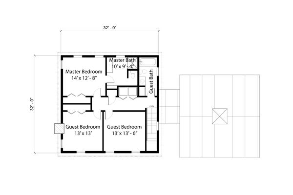 Colonial Floor Plan - Upper Floor Plan Plan #497-19
