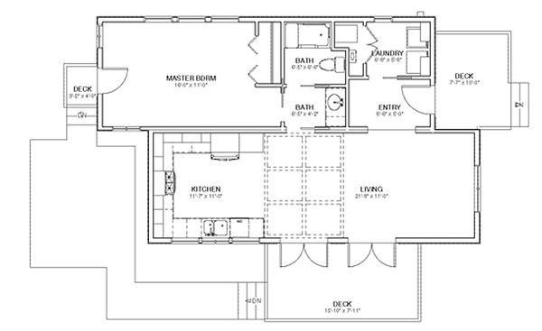 Cottage Floor Plan - Main Floor Plan Plan #499-4