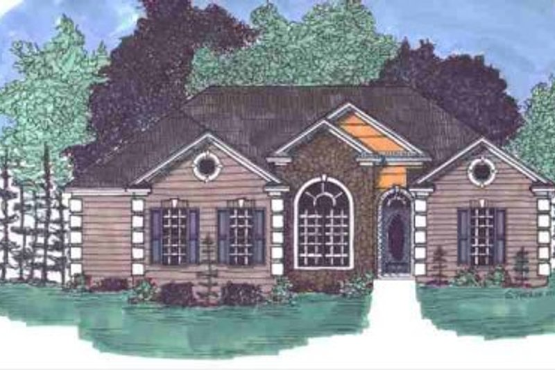 European Style House Plan - 3 Beds 2 Baths 1617 Sq/Ft Plan #69-115 Exterior - Front Elevation