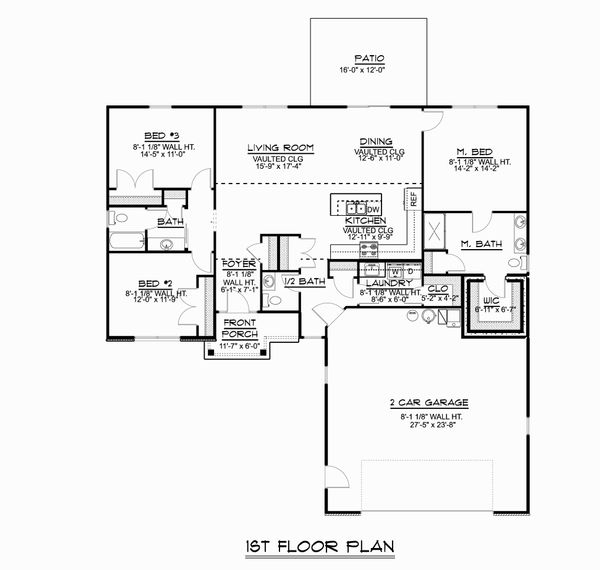 Ranch Floor Plan - Main Floor Plan Plan #1064-46