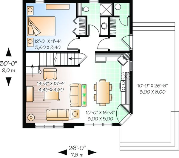 Cottage Floor Plan - Main Floor Plan Plan #23-493