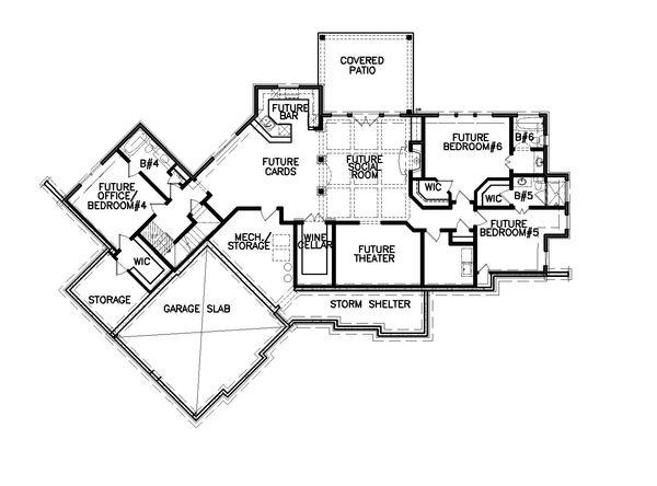 Farmhouse Floor Plan - Lower Floor Plan Plan #54-383