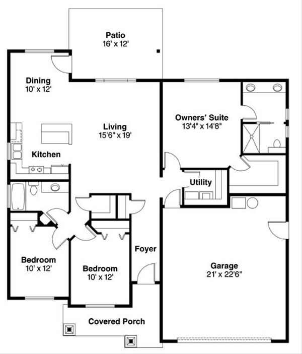 Craftsman Floor Plan - Main Floor Plan Plan #124-775