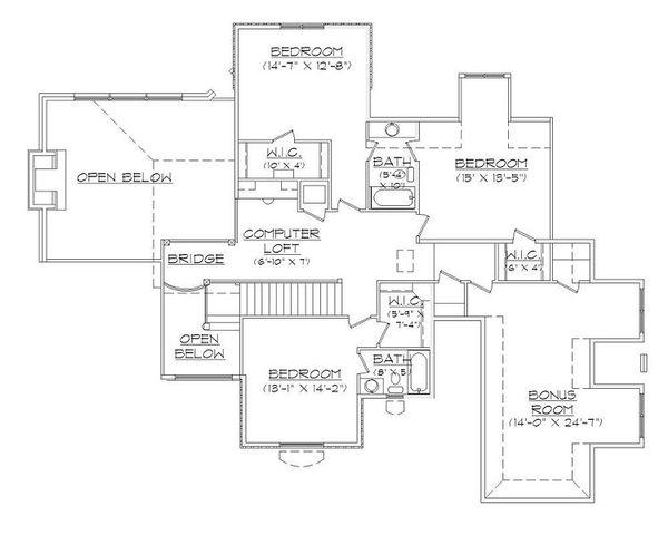 House Plan Design - European Floor Plan - Upper Floor Plan #5-421