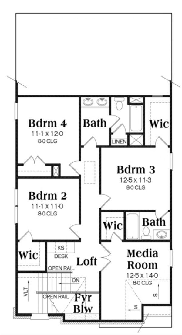 Traditional Floor Plan - Upper Floor Plan Plan #419-250