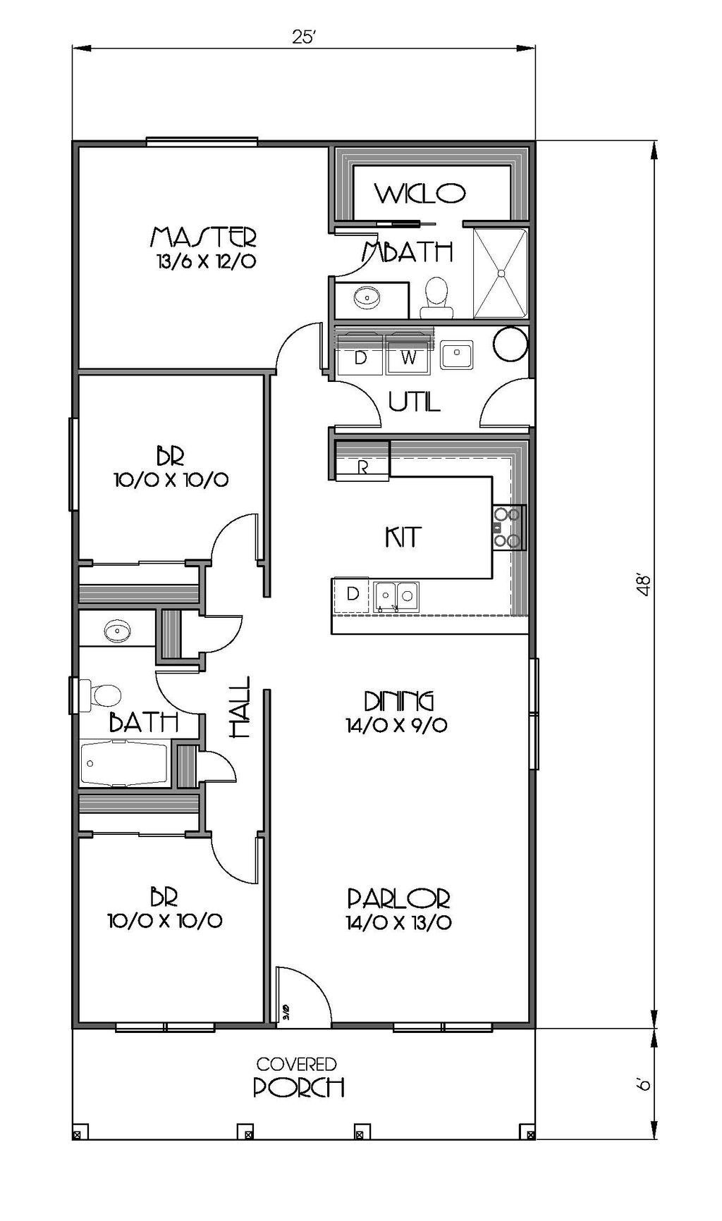 Cottage Style House Plan - 3 Beds 2 Baths 1200 Sq/Ft Plan