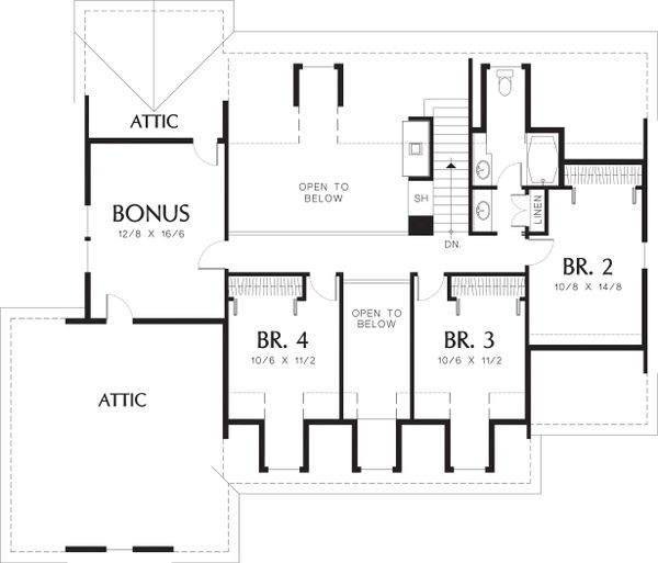 Upper level floor plan - 2500 square foot country home