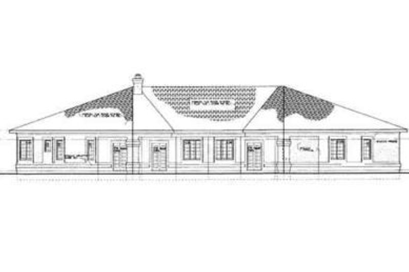 Adobe / Southwestern Exterior - Rear Elevation Plan #72-221 - Houseplans.com