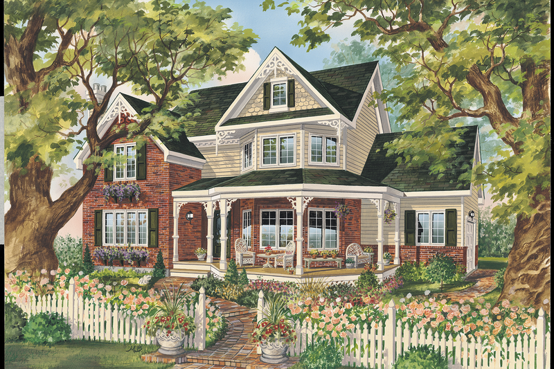 Victorian Style House Plan - 3 Beds 1 Baths 1972 Sq/Ft Plan #25-4760 Exterior - Front Elevation
