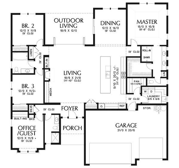Architectural House Design - Ranch Floor Plan - Main Floor Plan #48-927