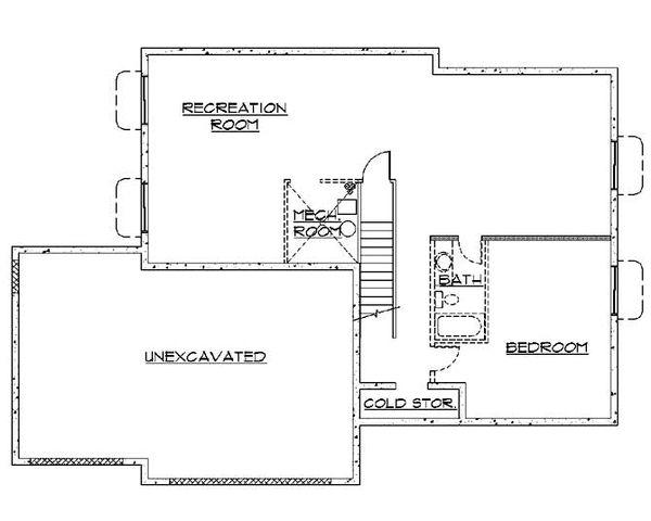Ranch Floor Plan - Lower Floor Plan Plan #5-232