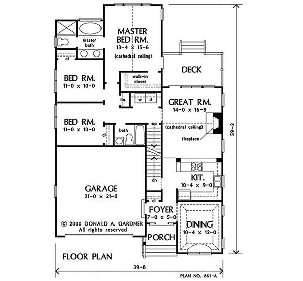 Ranch Floor Plan - Other Floor Plan Plan #929-1097