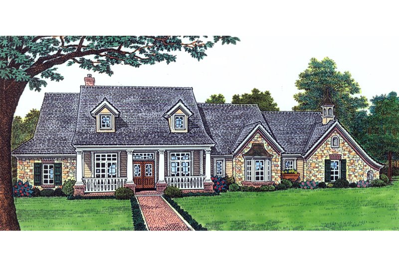 Architectural House Design - Country Exterior - Front Elevation Plan #310-240