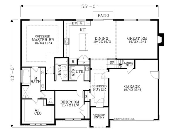 European Floor Plan - Main Floor Plan Plan #53-622