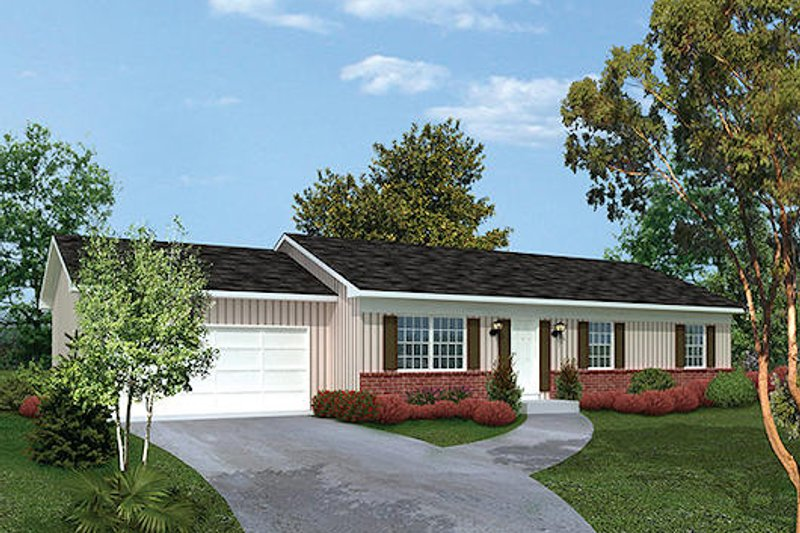 Ranch Style House Plan - 3 Beds 2 Baths 1288 Sq/Ft Plan #57-471