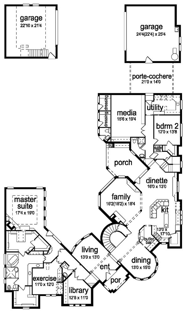 European Floor Plan - Main Floor Plan Plan #84-293