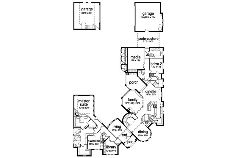 European Floor Plan - Main Floor Plan Plan #84-293
