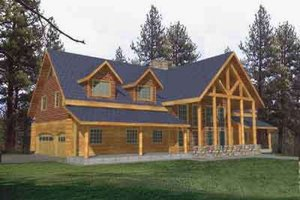 Log Exterior - Front Elevation Plan #117-271
