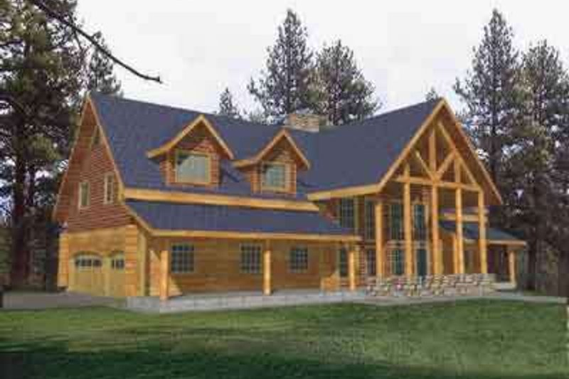 Log Style House Plan - 5 Beds 3.5 Baths 3492 Sq/Ft Plan #117-271 Exterior - Front Elevation