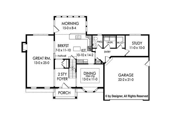 Colonial Floor Plan - Main Floor Plan Plan #1010-214