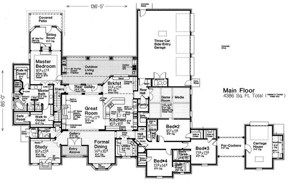 European Floor Plan - Main Floor Plan Plan #310-1294