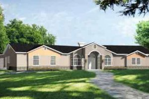 Ranch Exterior - Front Elevation Plan #1-829