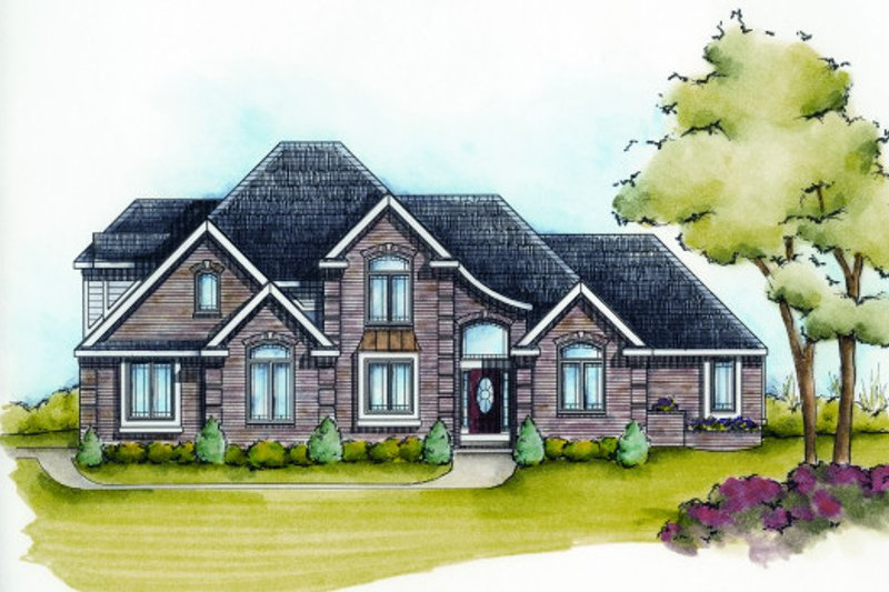 European Style House Plan - 4 Beds 3.5 Baths 3060 Sq/Ft Plan #20-2117