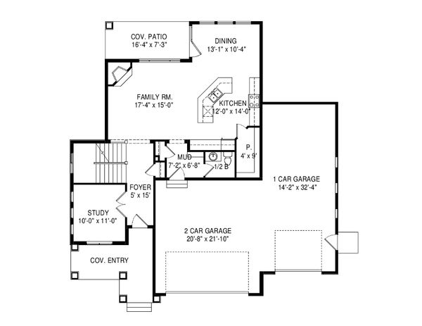 Traditional Floor Plan - Main Floor Plan Plan #920-92