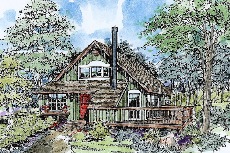 Cabin Exterior - Front Elevation Plan #970-15