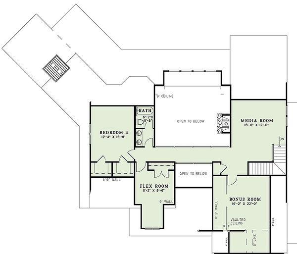 Craftsman Floor Plan - Upper Floor Plan Plan #17-2443